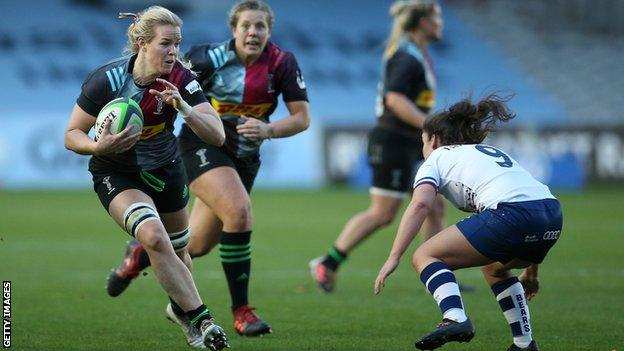 Harlequins' Kristine Sommer runs with the ball