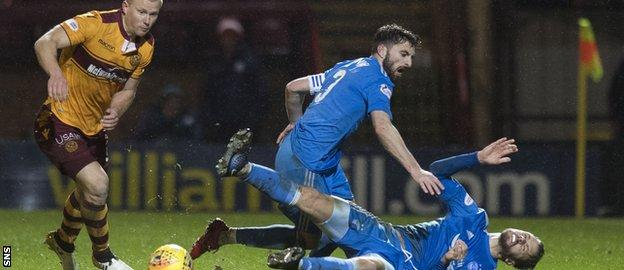 Kari Arnason (grounded) had to go off injured after colliding with team-mate Graeme Shinnie