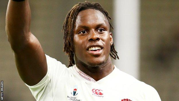 Maro Itoje playing for England in the 2019 Rugby World Cup in Japan