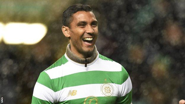 Marvin Compper is paraded in front of the Celtic fans at half-time during their win over Partick Thistle