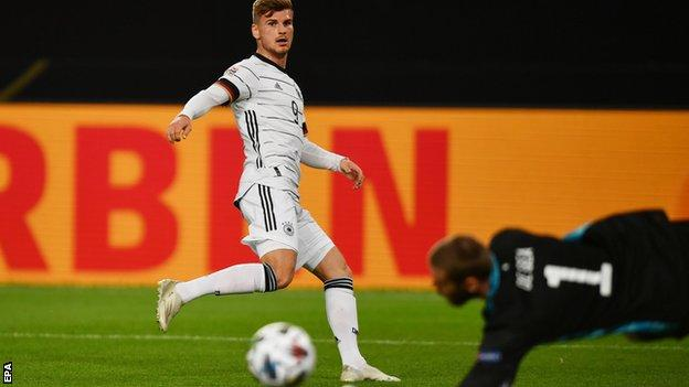 Timo Werner in action for Germany against Spain