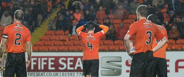 Dundee United are seven points adrift at the bottom of the Premiership