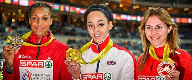 Nafissatou Thiam and Katarina Johnson-Thompson in 2015