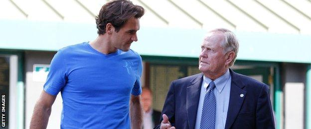 Jack Nicklaus, pictured with Roger Federer, has attended numerous Wimbledon tournaments