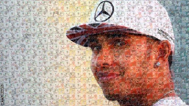 Lewis Hamilton mosaic of race victories
