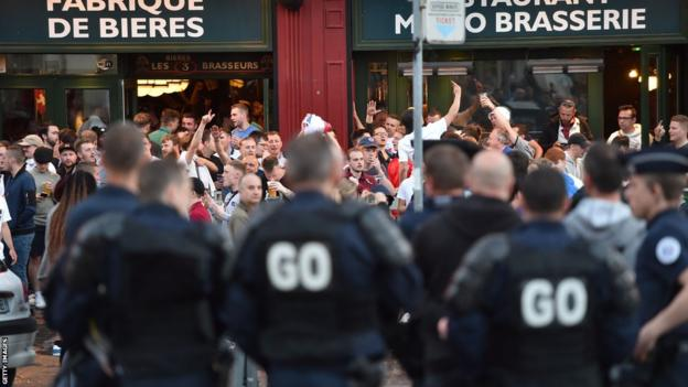 Police and fans in Lille