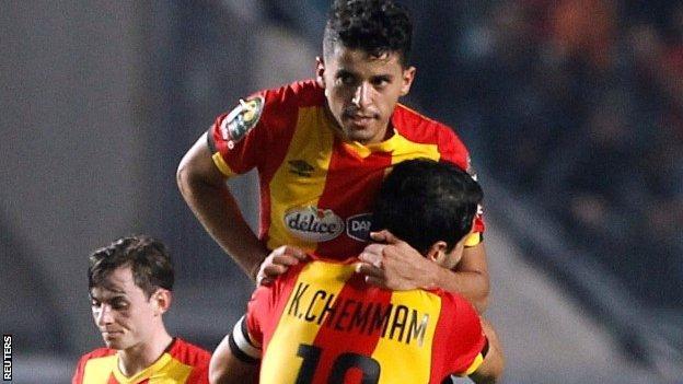Saad Bguir celebrates scoring for Esperance in Rades