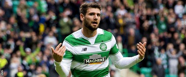 Nadir Ciftci celebrates after scoring his first goal for Celtic