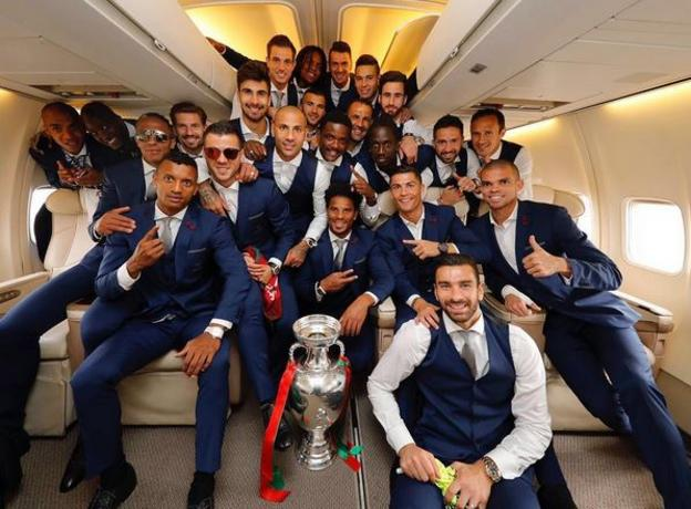 Portugal squad with the European Championship trophy