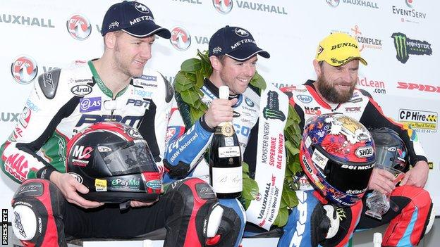 Alastair Seeley (centre) is likely to be challenged strongly by Ian Hutchinson (left) and Bruce Anstey (right)