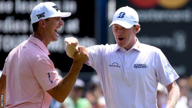 Snedeker celebrated his final putt with playing partner Billy Horschel