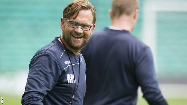 Stjarnan's Runar Pall Sigmundsson is all smiles at Celtic Park