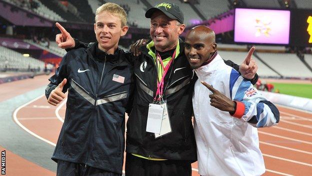 Alberto Salazar alongside Mo Farah and training partner Galen Rupp at the London 2012 Olympics