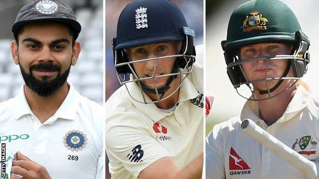 India's Virat Kohli, England's Joe Root, and Australia's Steve Smith