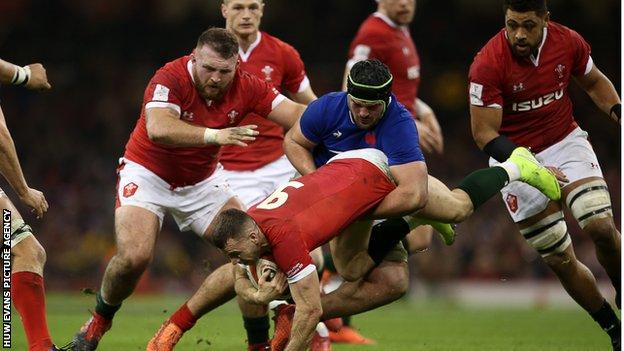 Wales and France in action during the 2020 Six Nations match in Cardiff which the visitors won 27-23