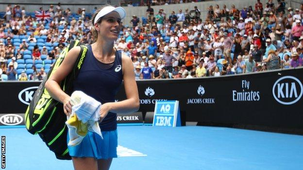 Johanna Konta walks off Margaret Court arena after beating Ekaterina Makarova at the 2017 Australian Open