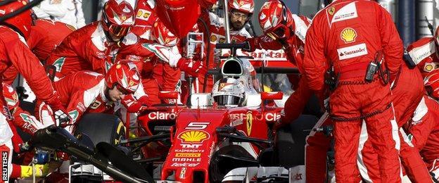 Ferrari's Sebastian Vettel in the pit lane during the Australian Grand Prix