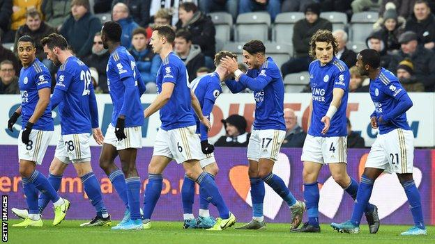 Leicester players (including goalscorers James Maddison and Ayoze Perez - centre) celebrate