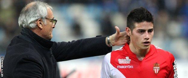 Claudio Ranieri (left) and James Rodriguez