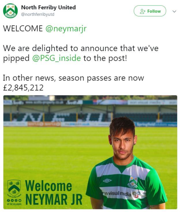 Neymar signs for North Ferriby United