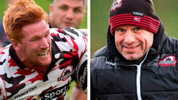 Roddy Grant carrying ball for Edinburgh; Richard Cockerill marshalling Edinburgh training