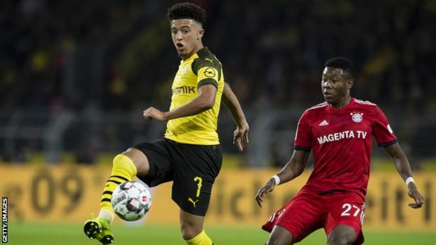 Jadon Sancho in action against Bayern Munich