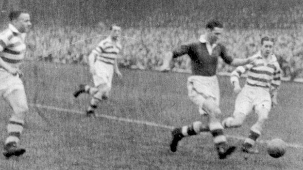 Belfast Celtic trio Jimmy Jones, Joe Douglas and Charlie Tully close in on Linfield's Bob Bryson at Windsor Park in the 1947/48 season