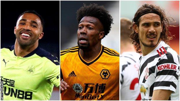 Callum Wilson (Newcastle), Adama Traore (Wolves), Edinson Cavani (Manchester United)