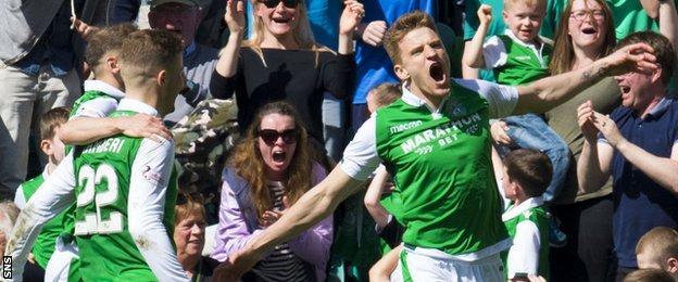 Hibernian's Vykintas Slivka celebrates scoring against Celtic