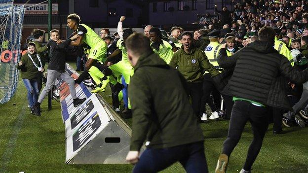 Pitch invasion at Rugby Park