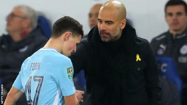 Phil Foden came off on 89 minutes against Leicester