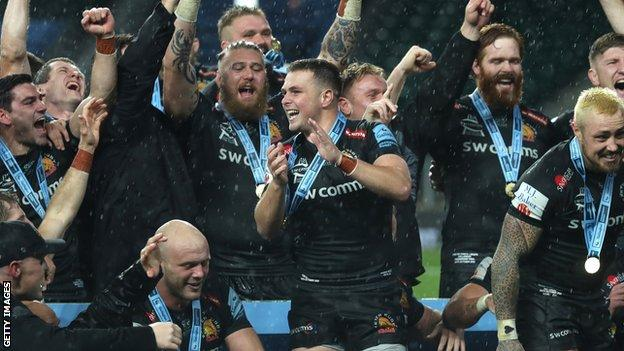 Exeter celebrate winning the Premiership