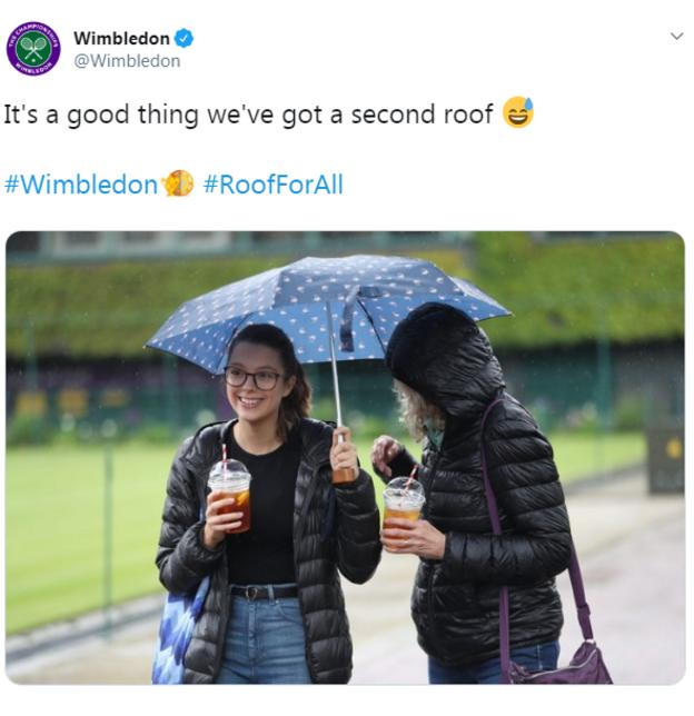 A tweet from Wimbledon showing two fans in the rain saying: It's a good thing we've got a second roof