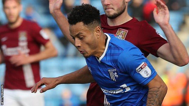 Elliott List in action for Gillingham against Northampton.
