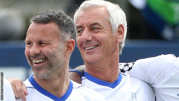 Ryan Giggs and Ian Rush pictured during an exhibition game in Cardiff