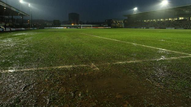Newport County Inflatable Cover Protects Pitch Before Key