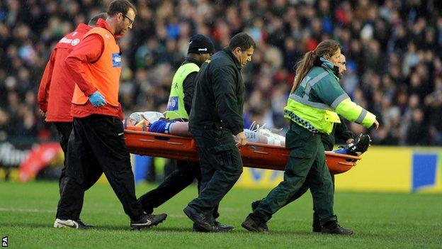 George Kruis being stretchered off the pitch on Saturday
