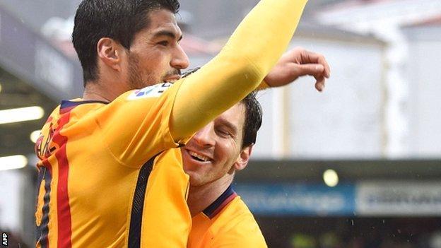 Luis Suarez, Lionel Messi and Neymar have 100 goals between them this season
