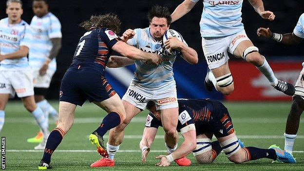 Racing 92's Camille Chat charges towards the Edinburgh line