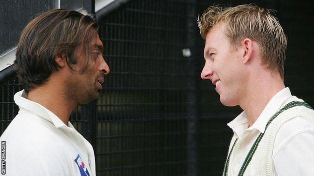 Former Pakistan seamer Shoaib Akhtar and Australian bowler Brett Lee