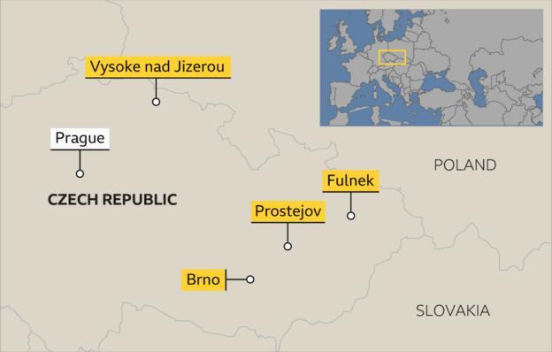 Map showing cities in Czech Republic