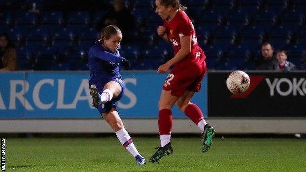 Guro Reiten volleys Chelsea ahead against Liverpool
