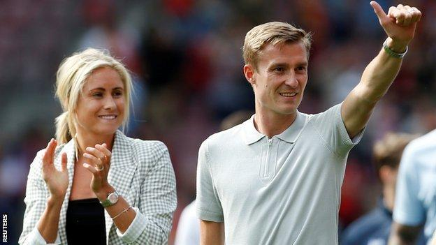 England Women's captain Steph Houghton and Stephen Darby