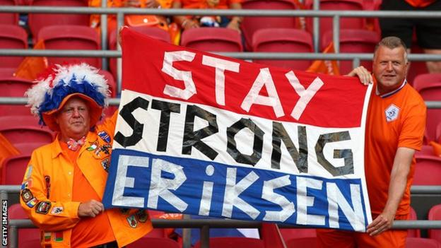 Supporters in the ground displayed banners with messages of support for Eriksen, with one reading 'Stay strong Eriksen' in English