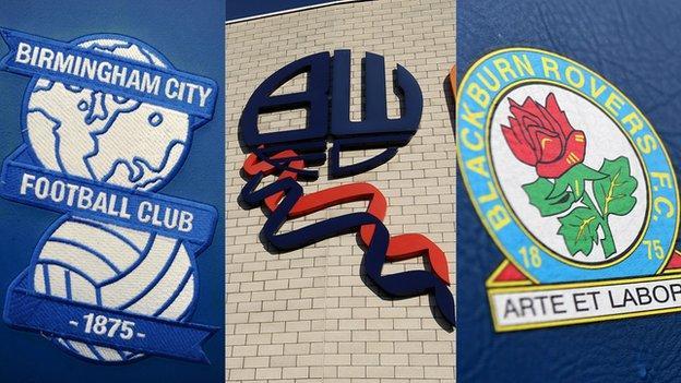 Birmingham City, Bolton Wanderers and Blackburn Rovers badges