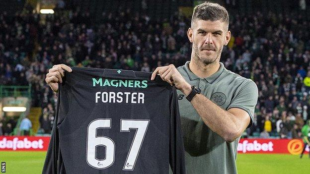 Fraser Forster was reintroduced to the Celtic fans at half-time during their match with AIK