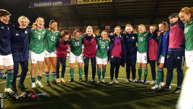 Northern Ireland celebrate beating Belarus