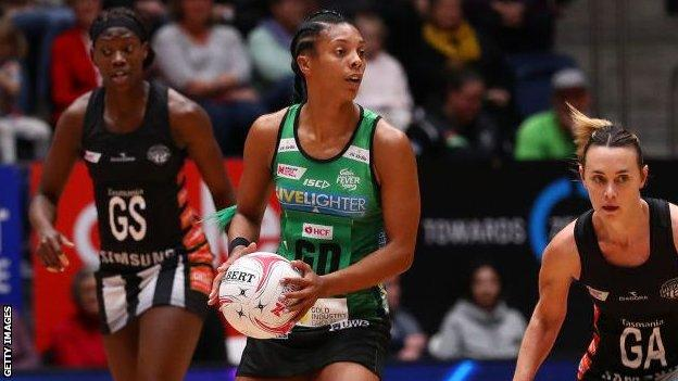 Stacey Francis playing for West Coast Fever in the Super Netball league in Australia