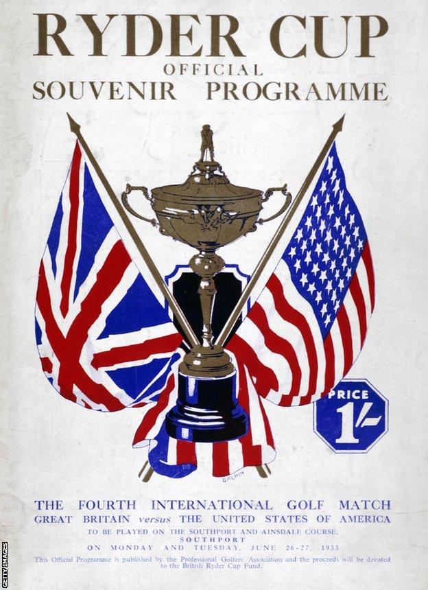 Ryder Cup programme in 1933