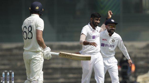 Bumrah celebrates wicket of Dan Lawrence